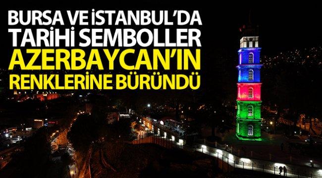 Bursa ve İstanbul'da tarihi semboller Azerbaycan'ın renklerine büründü