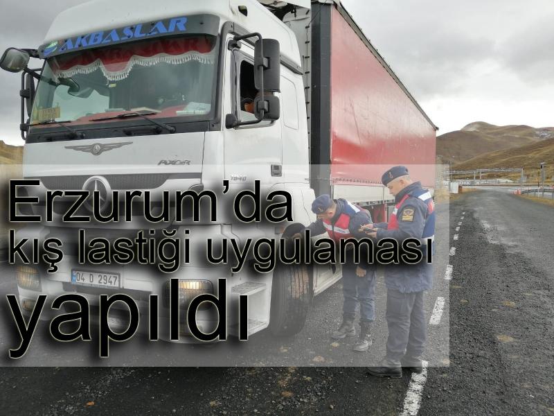 Erzurum'da kış lastiği uygulaması yapıldı
